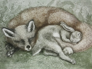 Peace Between Species by Caren Catterall, printmaker